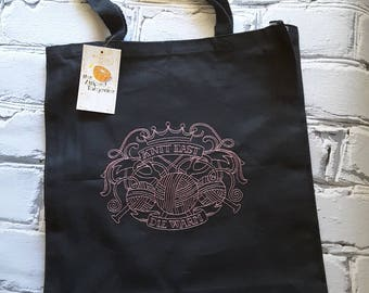 Knit Fast Die Warm - Knitting Themed Embroidered Tote Bag - knitting-crochet- needlearts
