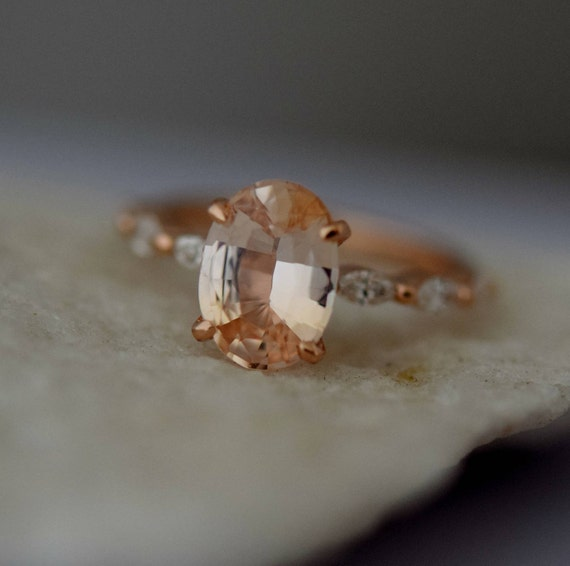 Champagne sapphire engagement ring. Rose Gold Engagement Ring. Godivah ring. One of a kind ring Sapphire Oval Engagement ring