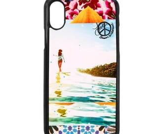 NEW iPhone X Case, Best Seller, BLOOM Lauren Hill, Modern, Surf, Orchid, Long Board, Female Surfer, iPhoneX, Beach, Art, black case color