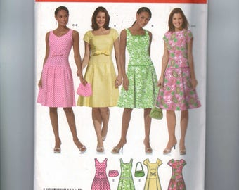 Misses Sewing Pattern Simplicity 4675 Misses Drop Waist Princess Seam Sundress Sleeveless Dress Size 14 16 18 20 Bust 36 38 40 42 UNCUT