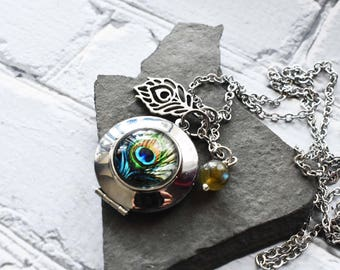 Custom Silver Peacock Locket Necklace - Personalized Stamped Locket Feather Gemstone Necklace- Friend Gift Long Labradorite Charm Jewelry