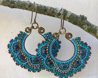 Teal beaded brass earrings, seed bead jewelry in jewel tones