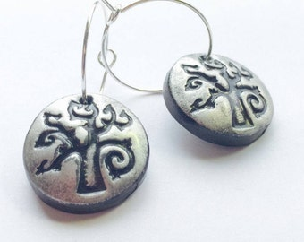 Silver Yggdrasil Tree of Life Handmade Polymer Clay Hoop Earrings