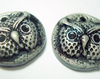 Owl Face Black and Silver Polymer Clay Beads