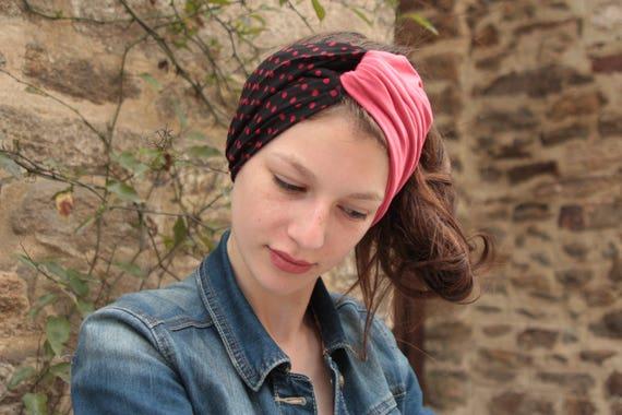 Hair Retro black polka dots red viscose and pink Jersey headband-Turban