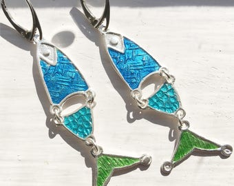 Mary's Fishes Silver & Enamel Earrings