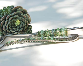 Succulent wedding cake knife server set Swarovski crystal cake cutting set green wedding bridal shower cake cutting ceremony table decor