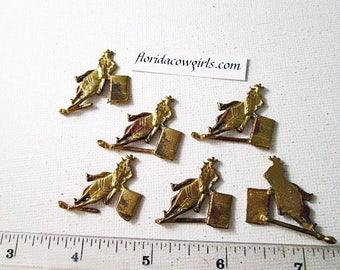 Brass Stamping, Barrel Racer, Brass Barrel Racer, Soldering Stamping, Cast Metal Emblem, 27x27mm, Flat Back Embellishment, Set of 10 Emblems