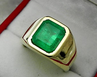 AAAA Emerald  10x9mm  3.52 Carats   Heavy 14K Yellow gold Emerald cut Mans  ring 15-16 grams 1767