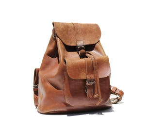 Vintage Abby Brown Leather Backpack