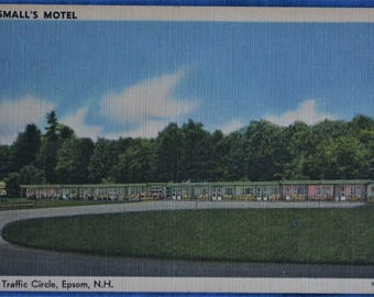 Small's Motel At Traffic Circle Epsom NH New Hampshire Linen Postcard Unused