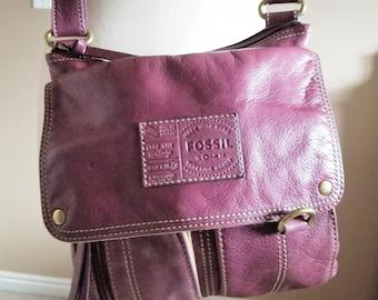 Rare Purple Leather FOSSIL Crossbody Handbag