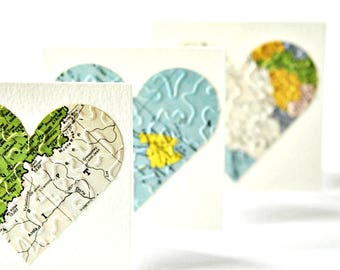 Small Map Heart Cards {3} | Sweetheart Gift Cards | Valentine Cards | Travel Theme Cards | Heart Cards | Love Heart Map Cards