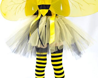 Bee Flower Tutu Dress with matching wings & hairbow - Perfect for Halloween costume, Photo Prop, Birthday, Custom made in Sz 1-5T