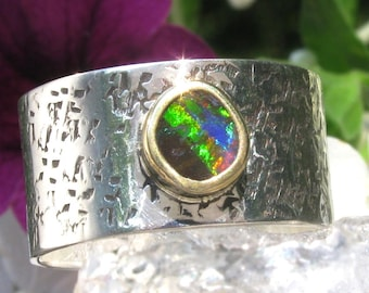 Australian Boulder Opal Ring - 22K gold and Sterling Silver Queensland Boulder Opal ring - US size 8 1/4 - wide band Opal ring - size 8.25