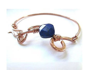 Dark Blue Lapis Lazuli Gemstone Bracelet, Hammered Copper Bangle Hook Clasp, Deep Midnight Blue Stone, Artisan Metal Jewelry, Gift for Women