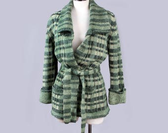 Vintage Wrap Belted Sweater 1970's in Green