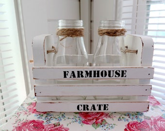 Farmhouse Chic Wood Crate Tray and Glass Milk Bottles Shabby Wood Crate Centerpiece Farmhouse Style Decor