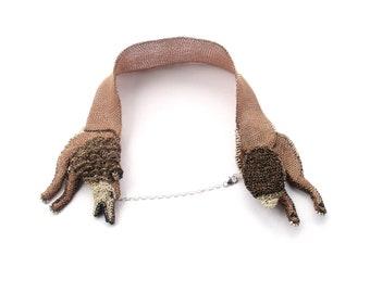 Wolf necklace - wolf jewelry, animal statement necklace, wire jewelry