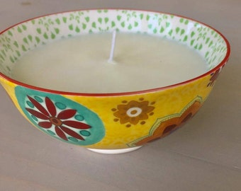 OOAK Blueberry Cobbler Scented Soy Candle, Ceramic Bowl