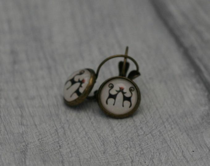 Cat Earrings, Cat Illustration, Dangle Earrings