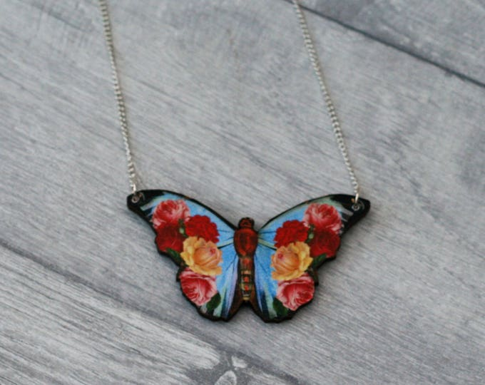 Red and Blue Floral Butterfly Necklace, Flower Butterfly, Wooden Butterfly, Illustration Pendant, Animal Necklace, Wood Jewelry