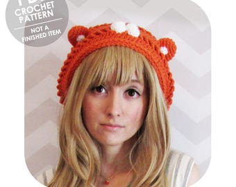 crochet pattern - himouto umaru chan hamster slouchy hat - slouchy beret - slouchy beanie - anime cosplay halloween costume - hamster hat