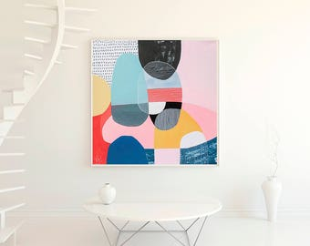 Wall art geometric print, acrylic abstract painting print, pink, blue , modern giclee print by VictoriAtelier