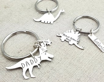 Fathers Day Keychain - Father's Day Gift - Personalized Gift - Dinosaur Keychain - Daddysaurus