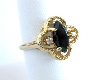 Vintage Cocktail Ring 14k HGE ESPO LIND / Rope Design / Shiny Black Stone / Diamond Chips / Gift for Her / Black and Gold Cocktail Ring