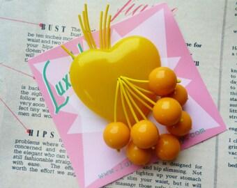 WW2 style classic mustard yellow sweetheart 1940's 50s handmade bakelite style cherry brooch by Luxulite