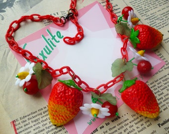 Summer Strawberry Blossom! 1940's inspired fruit salad necklace - vintage style handmade by Luxulite