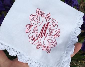 ROSE monogram Personalized Handkerchiefs Hankies Custom customized Monogramed