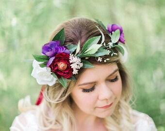 eggplant flower crown, purple flower crown, burgundy wedding, leaf flower crown, floral crown, fall flower crown, bridal crown headband