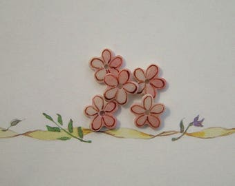 Five Petal Pink Embellishment set of 5