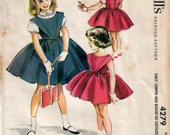 1950s McCall's 4279 Vintage Sewing Pattern Girls Full Skirt Jumper, Sleeveless Dress, Blouse Size 3