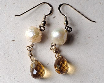 Exotic Drusy Rosebud Pearl Earrings with Faceted Citrine Briolettes and Gold-Plated Sterling Silver Earwires