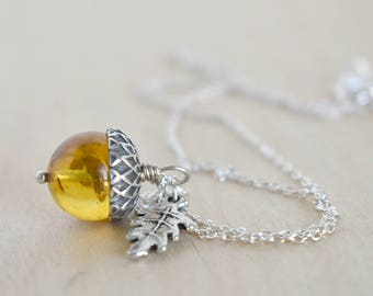 Baltic Amber and Silver Acorn Necklace   Cute Nature Acorn Charm Necklace   Gemstone Amber Acorn Necklace   Woodland Acorn   Nature Jewelry