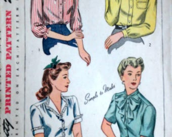 Vintage 40's Simplicity 4750 Sewing Pattern, Misses' Blouse, Size 14, 32 Bust, 1940's WW11 Era Fashion