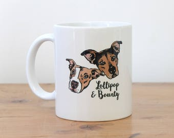 Personalized gift for couple Custom mug dog portraits cats pets Unique couples' art personal / wedding gift  / graduation gift idea coffee