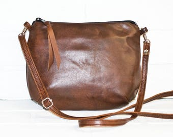 mini sling bag, brown leather purse, repurposed leather, recycled leather, small purse, purse, small cross body bag, small messenger