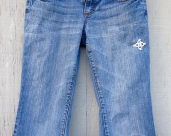 Upcycled Cut Off Blue Jeans Patched Embellished Cutoff Vintage Denim Bermuda Shorts