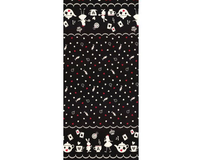 Girls Story Alice in Wonderland - Alice Border L50-100 black red, Lecien of Japan, 1 yard