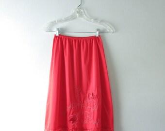 1960s Red Satin & Lace Half Slip XS Deadstock