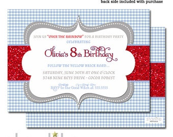 Wizard of Oz Birthday Invitation, Blue Gingham Red Glitter Birthday Invite Dorothy Style Wizard Oz, Any Age or Occasion Printable Printed