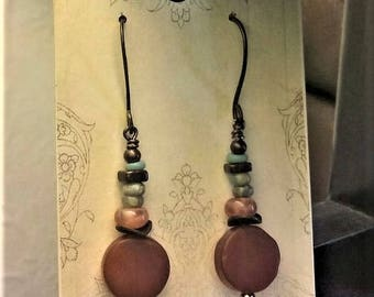 Carnelian rounds and copper earrings