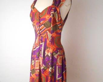 "Vintage 80s 90s ""Sun Worshiper"" Dress - Abstract Tribal Rayon Tie Back Sleeveless Dress"