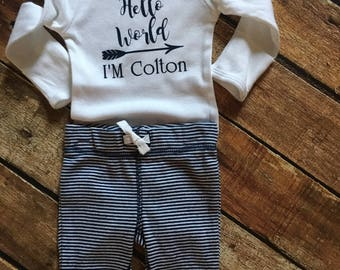 "Baby boy "" Hello World"" bodysuit with matching Pants"