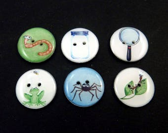 "6 Bug Buttons. Bug Collector Decorative Novelty Buttons  3/4"" or 20 mm. 6 Different Designs."