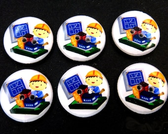 "6 Architect Buttons. 3/4"" or 20 mm.  Architectural Sewing Buttons."